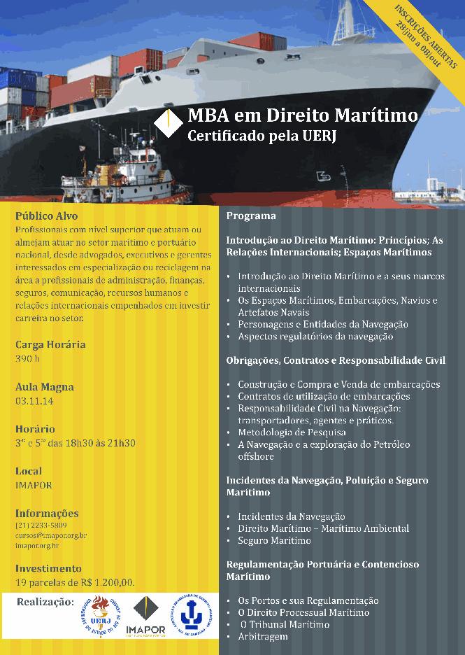 MBA em Direito Marítimo Certificado pela UERJ